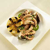 Greek Marinated Octopus with Herbs and Grilled Lemon