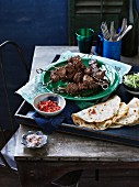 Lamb skewers with preserved chillies
