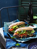 Banh mi sandwich with pork and lemongrass, Vietnam