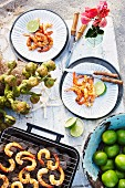 Spicy barbecued prawns at a tropical Christmas picnic