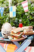 Salami and cheese sandwiches for a picnic