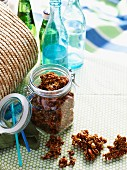 Spicy nut and cereal clusters for a picnic