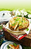 Savoury cheesecake with Gruyère for a picnic
