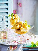 Pineapple and passionfruit with lemon syrup