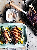 Barbecued kingfish with radicchio, fennel and orange salad