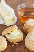 Buttermilk scones with butter and honey