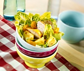 Chicken salad with pineapple and clementines