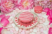 Pink macaroon striped with icing on a silver plate, surrounded by sugared almonds, peonies and rose petals
