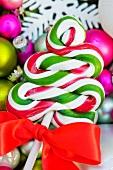 Christmas lollipop on baubles
