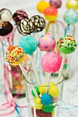 An assortment of colourful cake pops for a party