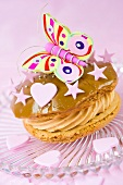 Whoopie pie with coffee glaze, a butterfly, hearts and stars