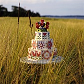 Three Tiered Wedding Cake Decorated with Red and Blue Flowers and Red Love Birds; In a Field