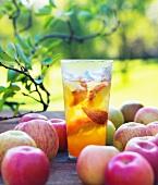 Ein Glas Bio-Apfelsaft aus Fuji Äpfeln auf Gartentisch