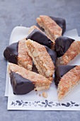 Macadamia nut triangles dipped in chocolate