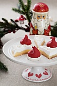 Lemon meringue pie and marzipan Santa hats for Christmas