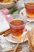 Winter tea with cinnamon sticks