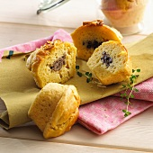 Muffins filled with black pudding and with liver sausage