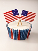 A cupcake with US flags