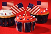 Cupcakes decorated with US flags