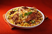 Chicken biryani with rice and spices (India)