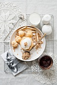 Profiteroles with ice cream and rolled oats