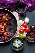 Fried beetroot and carrots with relish and raw onion