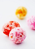 Colourful speckled sugar eggs