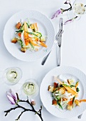 Pasta salad with spring vegetables and croutons