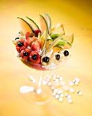 Fruchtbecher mit gemischtem Fruchteis und frischen Früchten
