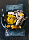 Turmeric roots and turmeric powder