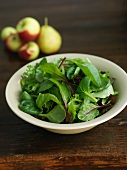 A Bowl of Organic Mixed Green with Apples and Pears in the Background
