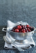 Cranberries in a metal bowl