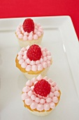 Three Mini Raspberry Cupcakes