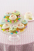 Tiered Pedestal Dish of Easter Cupcakes