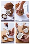 A coconut being broken open