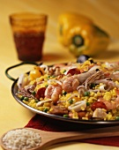 Paella (a pan-cooked rice dish with seafood and vegetables, Spain)