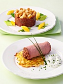 Filled, rolled roast beef sliced and a timbale of steak tartare with croutons