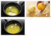 Geschmolzene Butter mit Zitronenschale & Knoblauch gewürzt