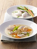 Chicken broth and cream of chicken soup