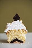 Half of a s'mores cupcake (USA)