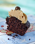 Half of a chocolate cupcake