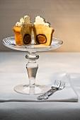 A cupcake with a marzipan praline filling