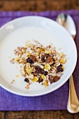 Muesli with raisins and yoghurt