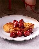 Fried goose liver with sour cherry sauce