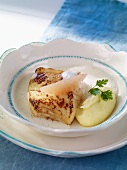 Pollack with vanilla mash and grapefruit