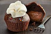 A filled chocolate cupcake