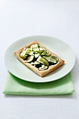 An individual feta and courgette tart