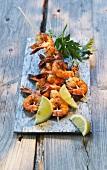 Barbecued prawn skewers with lemons (Spain)
