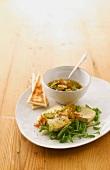 Fried tofu with asparagus, vinaigrette and tramezzini