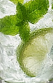A glass of Mojito with mint and lime (close-up)